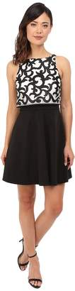 Aidan Mattox Popover Top Cocktail Dress with Embroidered Scroll Detail Women's Dress
