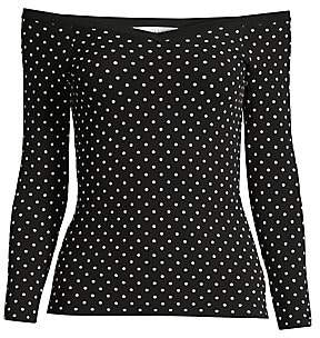 Milly Women's Off-The-Shoulder Micro Dot Top