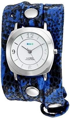 La Mer Women's 'La Mer Collections Women's Electric Blue Snake Silver Odyssey Wrap Watch' Quartz Two Tone Leather Casual Watch (Model: LMODY2001)