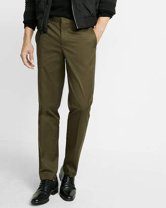 Express Slim Dark Olive Stretch Cotton Dress Pant
