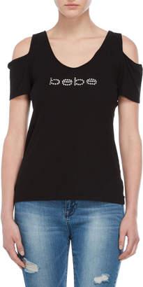 Bebe Black Rhinestone Logo Cold Shoulder Top