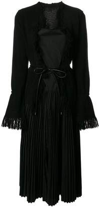 Sacai belted pleated dress