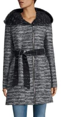Catherine Malandrino Belted Tweed Coat
