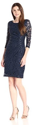 """Marina Women's 3/4"""" Sleeve Lace Dress with Side Pleating and V-Neck Back $129 thestylecure.com"""