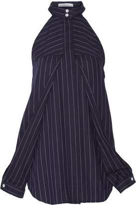Dion Lee Cutout Pinstriped Cotton-Poplin Top
