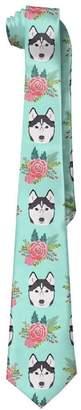 Gorgeous decoration Husky Dog And Rose Flowers Gentleman Cool Fashion Tie Classic Stripe Men's Necktie