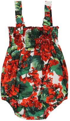 Dolce & Gabbana Floral Print Cotton Poplin Bodysuit