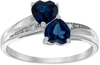 JCPenney FINE JEWELRY Lab-Created Blue Sapphire and Diamond-Accent Sterling Silver Double-Heart Ring