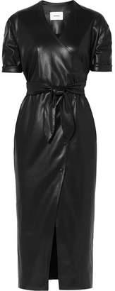 Nanushka - Penelope Vegan Faux Leather Wrap Midi Dress - Black