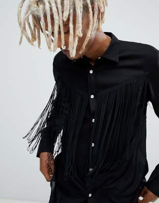 Asos Design Regular Fit Western Shirt With Tassles In Black