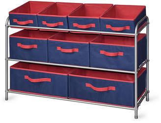 BINTOPIA BintopiaTM Deluxe Storage Rack with Fabric Bins - Blue/Red Trim