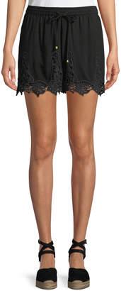 Neiman Marcus Crochet-Trimmed Voile Shorts