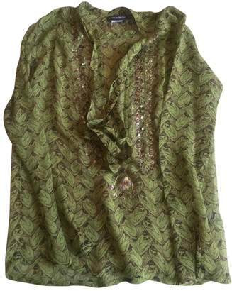 Antik Batik Green Silk Top for Women