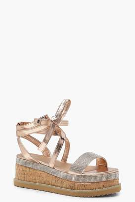 boohoo Tia Diamante Flatform Espadrille Tie Up Sandals