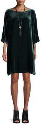 Eileen Fisher Short Velvet Shift Dress