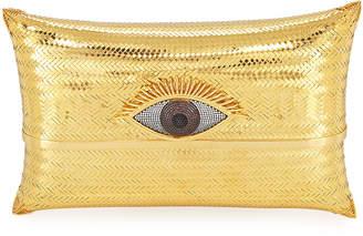 Begum Khan Evil Eye Cushion Large Minaudiere Clutch Bag, Gold