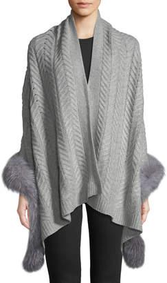 Sofia Cashmere Cashmere Staghorn Chunky Knit Wrap w/ Fur Trim