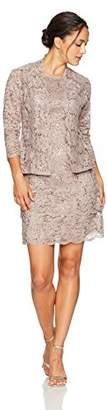 R & M Richards R&M Richards Women's Petite Laced Scallop 2 Piece Jacket Dress