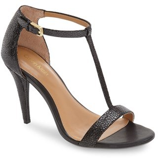 Calvin Klein 'Nasi' Leather T-Strap Sandal (Women) $108.95 thestylecure.com