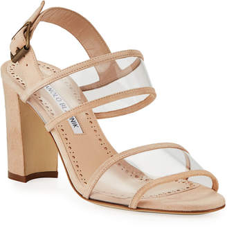 Manolo Blahnik Khan Suede Clear-Strap Sandals