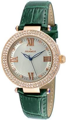 Peugeot Women's 'Luxury 14k Rose Gold Plated Leather Dress' Quartz Leather Dress Watch (Model: 3046GR)
