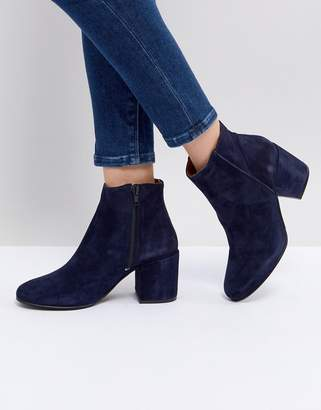 Selected Suede Ankle Boot With Chunky Heel