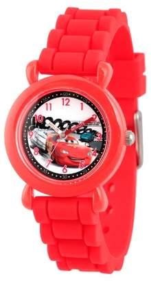 Cars Boys' Disney Lightning McQueen Red Plastic Time Teacher Watch - Red
