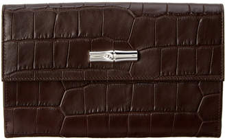 Longchamp Roseau Croc-Embossed Leather Continental Wallet