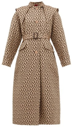 Gucci Logo Jacquard Single Breasted Trench Coat - Womens - Beige Multi