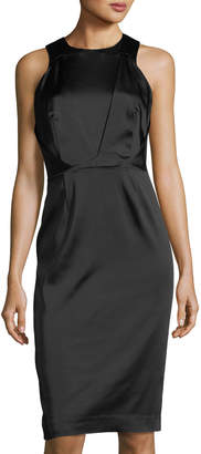 Tahari ASL Sleeveless Satin Sheath Dress