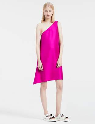 Calvin Klein platinum silk twill one-shoulder dress