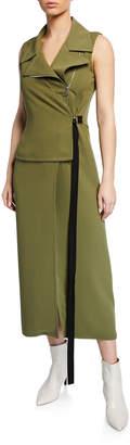 Yigal Azrouel Moto Wrap Asymmetric-Zip Dress