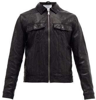 Frame Leather Trucker Jacket - Mens - Black