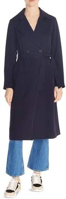Sandro Noah Belted Double-Breasted Coat