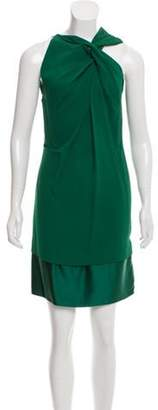 Roland Mouret Pleated Mini Dress Green Pleated Mini Dress