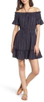 Moon River Stripe Off the Shoulder Dress