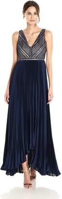 Adrianna Papell Women's Eyelet Lace and Chiffon Combo Gown