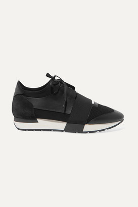 Balenciaga Race Runner Stretch-knit, Mesh, Suede And Leather Sneakers - Black