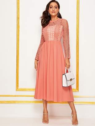 Shein Guipure Lace Overlay Bodice Zip Back Dress