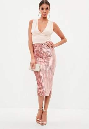 Missguided Blush Velvet Pleated Midi Skirt