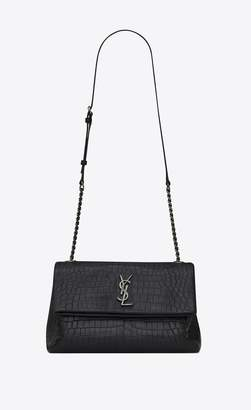 Saint Laurent Medium West Hollywood Bag In Black Crocodile Embossed Leather