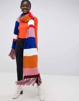 Asos Design DESIGN knitted multi stripe super long scarf with tassels