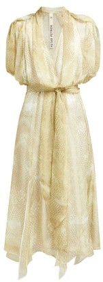 Petar Petrov Dove Snake Print Silk Dress - Womens - Light Green