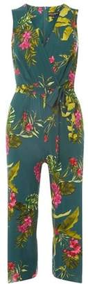 Dorothy Perkins Womens Green Tropical Print Wrap Culotte Jumpsuit