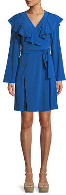 Taylor Ruffle-Trim Bell-Sleeve Wrap Dress