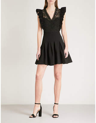 Claudie Pierlot Lace-embroidered fit-and-flare crepe mini dress
