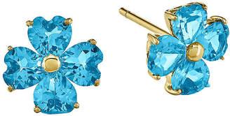 FINE JEWELRY Genuine Blue Topaz 14K Yellow Gold Flower Post Earrings