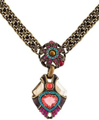 Lanvin Tiger's Eye Quartz & Crystal Pendant Necklace