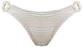 Reina Olga Rings Seersucker Effect Bikini Briefs - Womens - White Multi