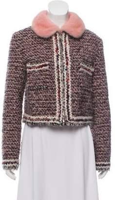 Moncler Mink-Trimmed Tweed Jacket Pink Mink-Trimmed Tweed Jacket